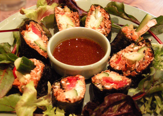 mock salmon rolls at raw vegan cafe