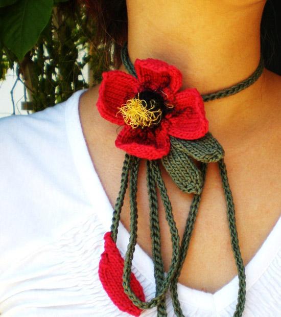 Fiery Red Blossom Lariat / Bolo Fiber Art Neckwear