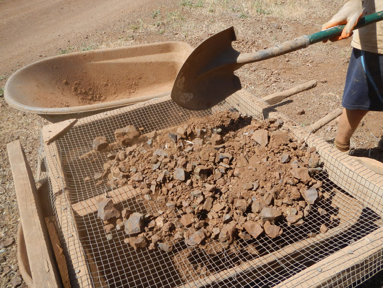 Gravel is source from the property by sifting it out of the soil.