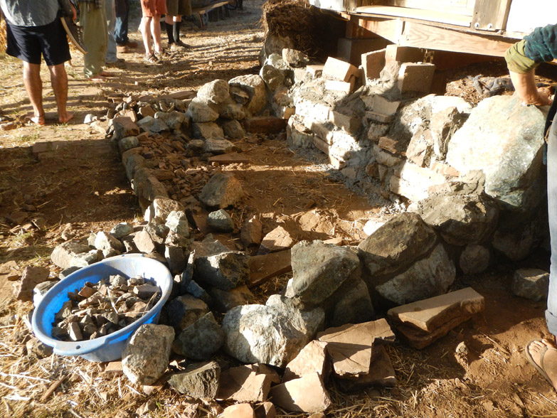 Starting the stairs - to be constructed like a puzzle from rocks found on-site